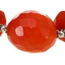 Silver Bead and Faceted Red Agate Bracelet - Thumbnail 2