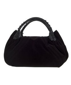 Fendi Black Embelished Velvet Floral Spy Bag - Thumbnail 2