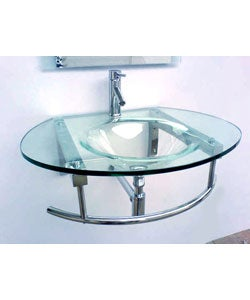 Modern Wall-mounted Glass Vanity and Faucet - Thumbnail 2