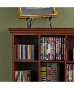Cherry Finished 4-column Media Storage Shelf