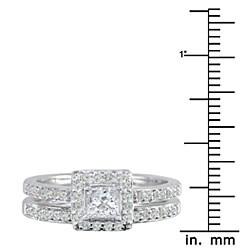 14K White Gold 1ct TDW Princess Diamond Bridal Ring Set (G-H, I1) - Thumbnail 2