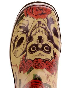 On Your Feet Rasp Skull and Rose Print Rain Boots - Thumbnail 2