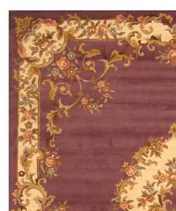 Hand-tufted Wool Purple Aubusson Rug (5' x 8') - Thumbnail 2