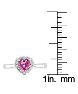 10k White Gold Heart-shaped Pink Topaz Ring