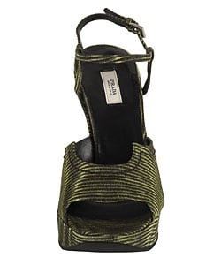 Prada Green/ Black Striped Wedge Sandals
