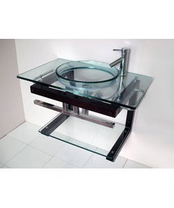 Solid Wood Wall-mount Glass Sink Vanity and Shelf