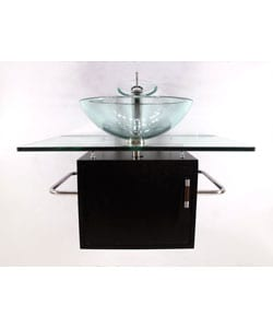 Wall-mount Glass Sink Vanity with Solid Wood Base - Thumbnail 2