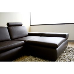 Fordon 2-piece Brown Leather Sofa Sectional - Thumbnail 2