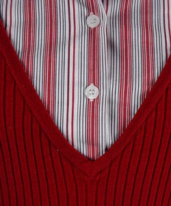Cable & Gauge Ribbed Sweater with Shirt Panel