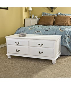 Windsor 4-drawer White Storage Bench - Thumbnail 2
