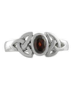 Sterling Silver Filigree Red Cubic Zirconia Ring - Thumbnail 2