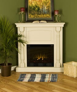 Oxford Antique White Electric Corner Fireplace - Free Shipping ...