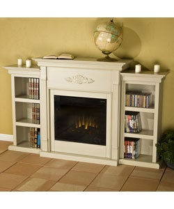 dublin antique white bookcase electric fireplace free shipping today 10852711. Black Bedroom Furniture Sets. Home Design Ideas