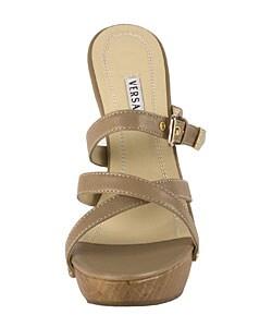 01492ce845407 Shop Versace Tan Leather Open Toe High Heel Mule - Free Shipping ...