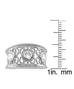 Journee Sterling Silver Filigree Cut with Bezel CZ Ring - Thumbnail 2
