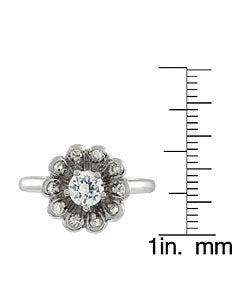 Journee Collection Sterling Silver Round Cut Flower CZ Ring