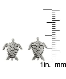 Journee Collection Sterling Silver Sea Tortoise Stud Earrings - Thumbnail 2