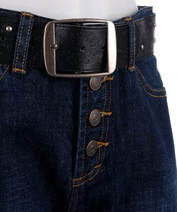 Zena Dark Blue 5-pocket Belted Fly Jeans