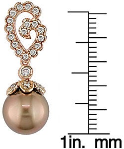 Cultured Tahitian Pearl 1/2ct TDW Diamond Earrings (9-10mm) - Thumbnail 2