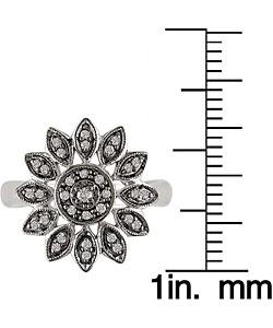 14k White Gold 1/6ct TDW Diamond Flower Ring - Thumbnail 2