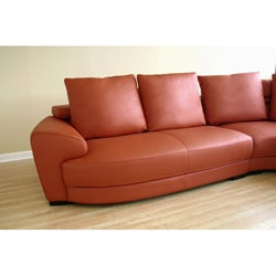 leopold burnt orange full leather sofa set free shipping