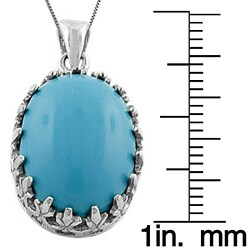 Fremada Sterling Silver Turquoise Oval Necklace - Thumbnail 2