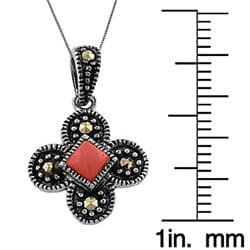 Fremada Sterling Silver Red Coral Butterfly Necklace - Thumbnail 2