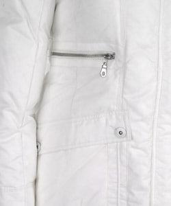 DKNY Women's White Down Hooded 3/4-length Parka - Thumbnail 2