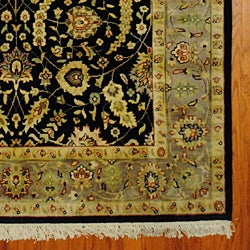 Indo Mahal Handknotted Rug Black/Light Brown (5' x 8') - Thumbnail 2