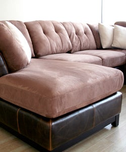 Aldan Brown Bi-cast Leather/ Microfiber 4-piece Sofa Set