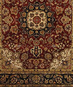 Safavieh Handmade Classic Kerman Burgundy/ Navy Wool Rug (9'6 x 13'6) - Thumbnail 2