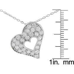 Journee Sterling Silver Heart in a CZ Pave Heart Necklace - Thumbnail 2