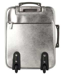 Prada Small Silver Leather Rolling Suitcase - Thumbnail 2
