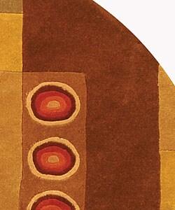 Safavieh Handmade Rodeo Drive Modern Abstract Khaki/ Rust Wool Rug (5'9 Round) - Thumbnail 2