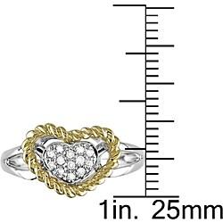 14k Two-tone Gold 1/10ct TDW Diamond Heart Rope Ring (H-I-J, I1-2)