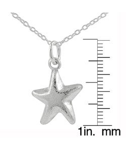 Journee Collection Sterling Silver Puff Starfish Pendant - Thumbnail 2
