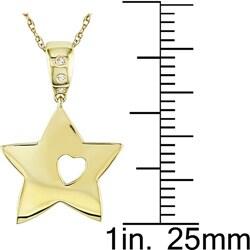 Miadora 10k Gold Diamond Accent Star and Heart Cutout Necklace - Thumbnail 2