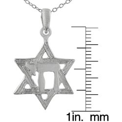 Journee Collection Sterling Silver Star of David Necklace with Chai Center - Thumbnail 2