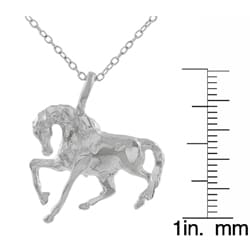 Journee Collection Sterling Silver Prancing Horse Necklace