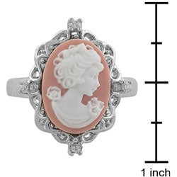 Sterling Silver CZ Pink Lady Cameo Ring - Thumbnail 2