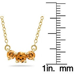 14k Gold Three-stone Citrine Necklace - Thumbnail 2