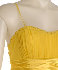 Democracy Women's Yellow Chiffon Pleated Dress - Thumbnail 2