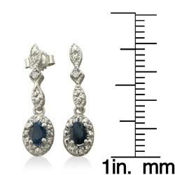 10k White Gold Blue Sapphire and Diamond Earrings - Thumbnail 2