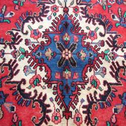 Persian Hamadan Handmade Red Rug (10'9 x 13'8) - Thumbnail 2