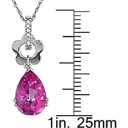 10k White Gold Diamond Pink Topaz Necklace - Thumbnail 2