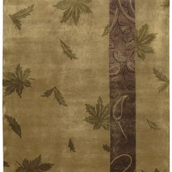 Hand-knotted Brown Floral Karur Collection Semi-Worsted Wool Rug (5' x 8') - Thumbnail 2