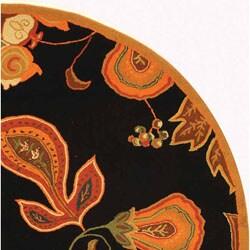 Safavieh Hand-hooked Autumn Leaves Black/ Orange Wool Rug (8' Round) - Thumbnail 2