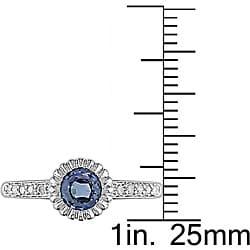 10k Gold Light Blue Sapphire and 1/10ct TDW Diamond Ring - Thumbnail 2
