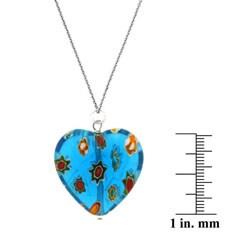 Glitzy Rocks Sterling Silver Light Blue Venetian Glass Heart Necklace - Thumbnail 2