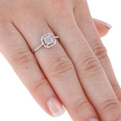 Unending Love 10k White Gold 1/10ct TDW Diamond Halo Ring (H-I, I3)